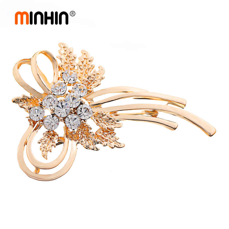 MINHIN Women Gold Color Bow Brooch Shinning Synthetic Rhinestone Decoration Banquet Accessory Beautiful Corsage Brooch
