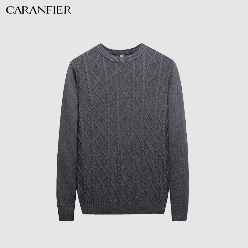 CARANFIER Sweater Men Pullover O-neck Male Brand Casual Slim Sweaters Men Solid Jacquard Hedging MenS Sweater clothes S-XXL
