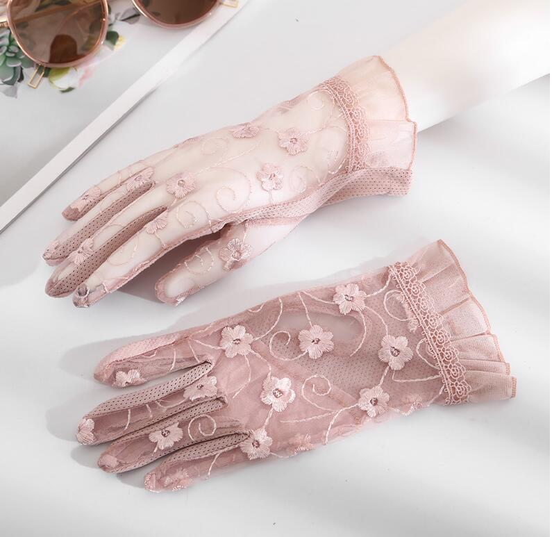 Women's Spring Summer Transparent Lace Gloves Female Uv Protection Breathable Sunscreen Driving Glove R1495