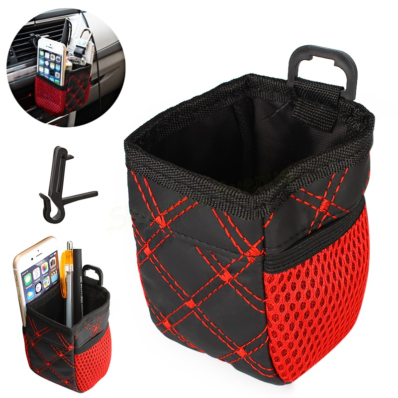 car styling universal red grid net auto car outlet storage bag phone holder pocket organizer car. Black Bedroom Furniture Sets. Home Design Ideas
