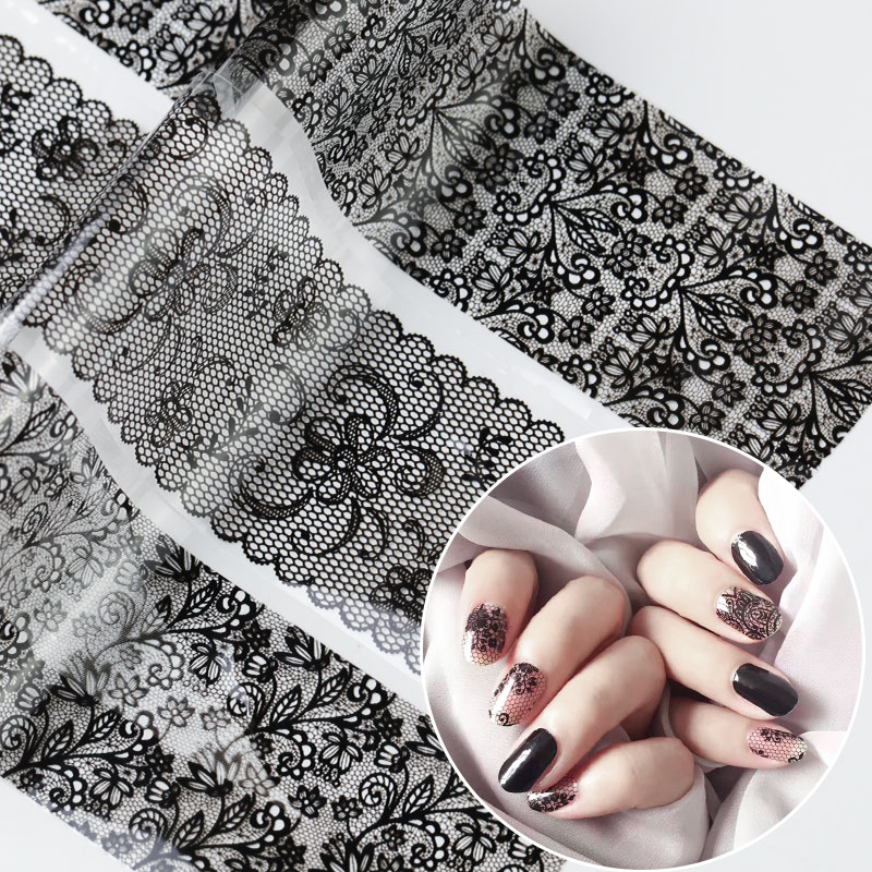 <font><b>16</b></font> pieces new 2019 black lace transfer sheet Nail Art <font><b>Sexy</b></font> full envelopes flower glue adhesive DIY manicure style tools image
