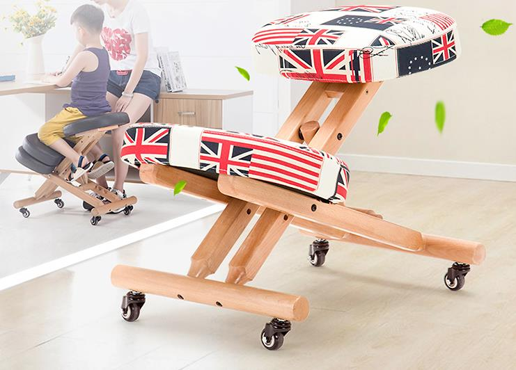 Children 's Corrections Sit - Chair Solid Wood Folding Learning Computer Office Simple Cloth Chair Kneading Bell Chair