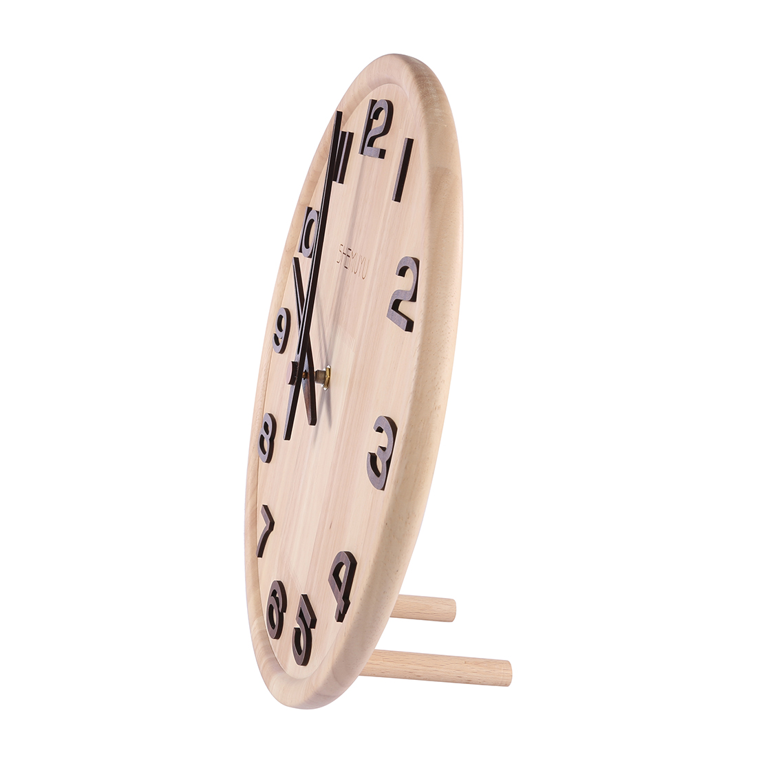 New Hot 14 Inches Nordic Mute Wall Clock Creative Solid Wood Table Desk Clock for Office Home Decor with Round Log Numbers Type