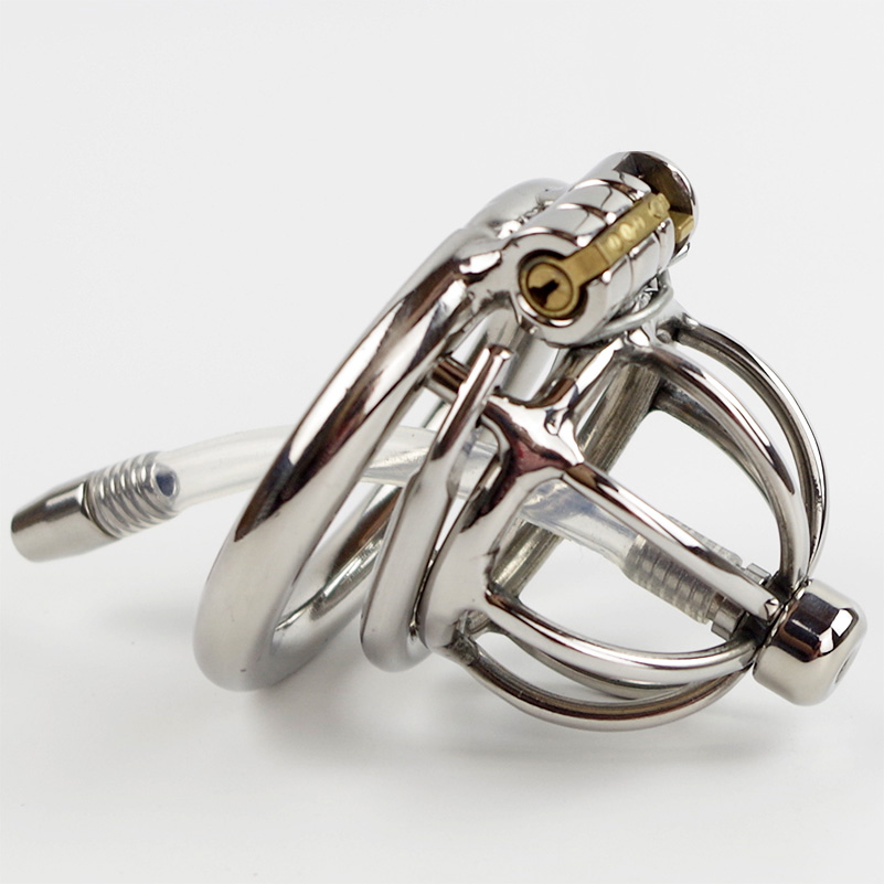Anti off Spiked ring Stainless Steel Small Chastity Cage with Urethral Insert Male Chastity Device new super small male chastity cage with removable urethral sounds spiked ring stainless steel chastity device for men g7 183