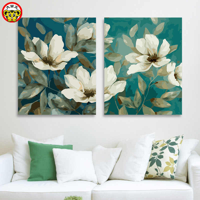painting by numbers art paint by number DIY digital painting plant flower white daisy sunflower sea bream flower medicinal oil p