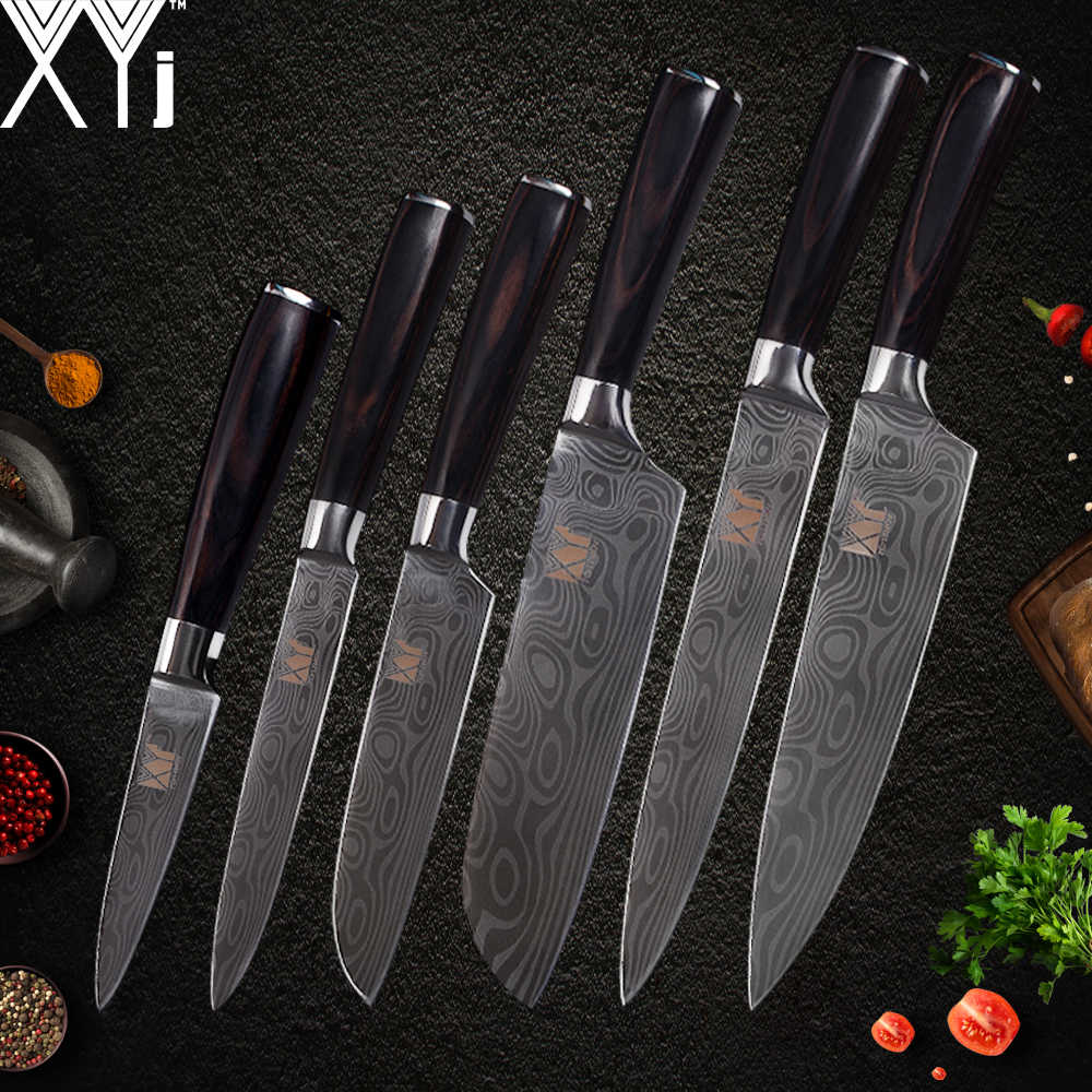 XYj 7cr17 Stainless Steel Kitchen Knife Set Stainless Steel Damascus Pattern Knives Fish Vegetable Slicer Cutter Cooking Tools