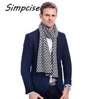 Simpcise New 2017 Fashion Europe Winter Knitting Men Scarf Wrap Long Thick Warm Plaid Scarves