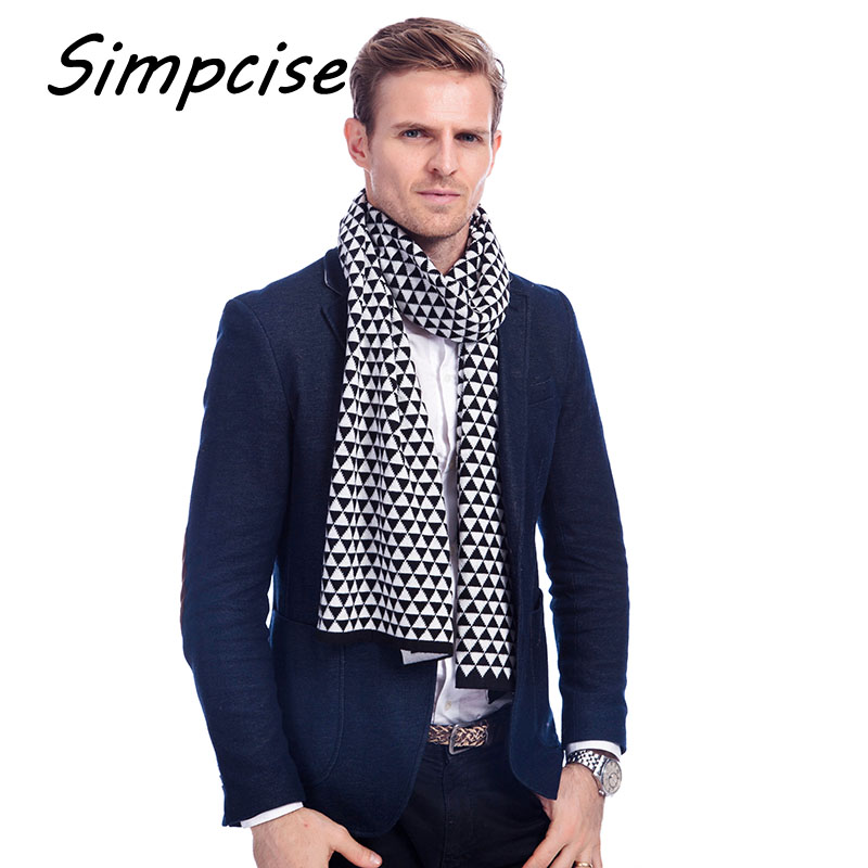 Simpcise Winter knitting Men Wrap Long Plaid Scarf male