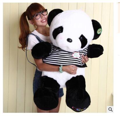 巨大な素敵なパンダのおもちゃ大きなぬいぐるみパンダでストライプ服誕生日ギフト約90センチ  グループ上の おもちゃ & ホビー からの ぬいぐるみ & フラシ天 動物 の中 1