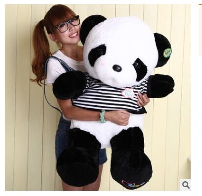 huge lovely panda toy big plush panda with stripe clothes birthday gift about 90cm new lovely plush panda toy stuffed sitting panda doll gift about 60cm