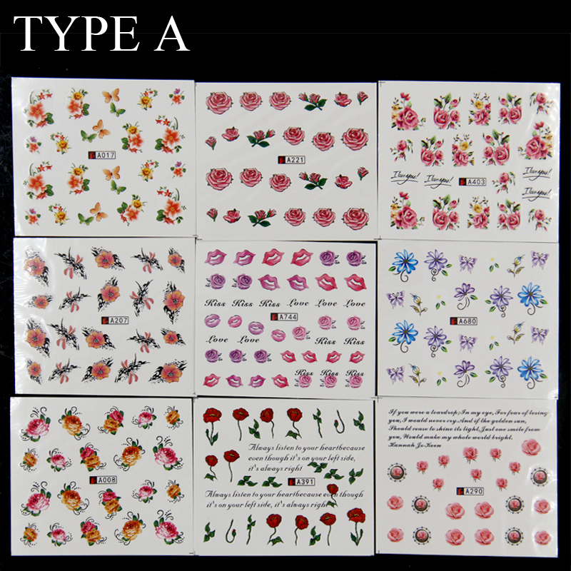 Wholesale 50 sheets watermark water transfer sticker design tip nail art stickers nails decal manicure tools full cover 2 types in stickers decals from