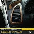 Центральный контроль вентиляционное отверстие приборной панели рамка Крышка отделка наклейки Чехлы аксессуары для интерьера для Nissan Patrol ...