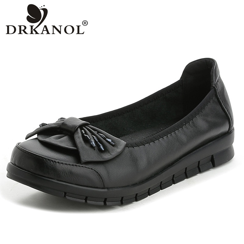 DRKANOL 2018 Genuine Leather Women Loafers Casual Shoes Slip On Flat Shoes Black Rhinestone Round Toe Flats Big Size 35-41 new shallow slip on women loafers flats round toe fishermen shoes female good leather lazy flat women casual shoes zapatos mujer