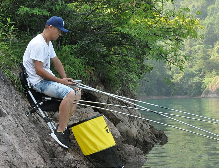 цены 2018 new folding fishing chair portable fishing stool with Retractable feet light multi-purpose beach chairs with Bag