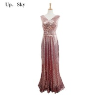 Luxury Gold Silver Long Evening Dress With Sequins Pink Double V Neck Cheap Evening Dresses Without