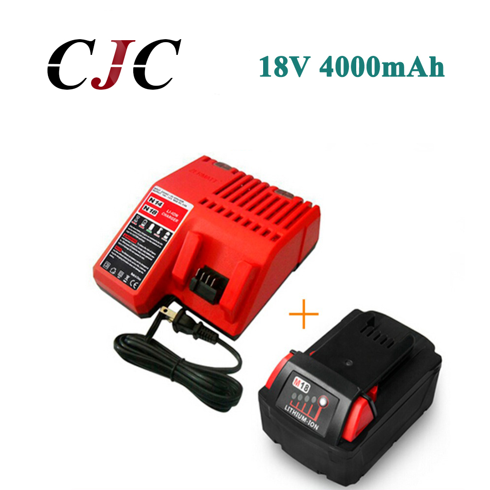 18V 4.0Li-Ion 4000mAh Replacement Power Tool Battery for Milwaukee M18 XC 48-11-1815 M18B2 M18B4 M18BX Li18+Charger 18v li ion 3000mah replacement power tool battery for milwaukee m18 xc 48 11 1815 m18b2 m18b4 m18bx li18 with power charger