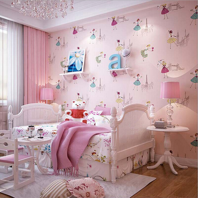 2016 New Arrival Cute Ballet Princess Wallpaper Lovely Baby Grils Bedroom Sweet Pink Papel De
