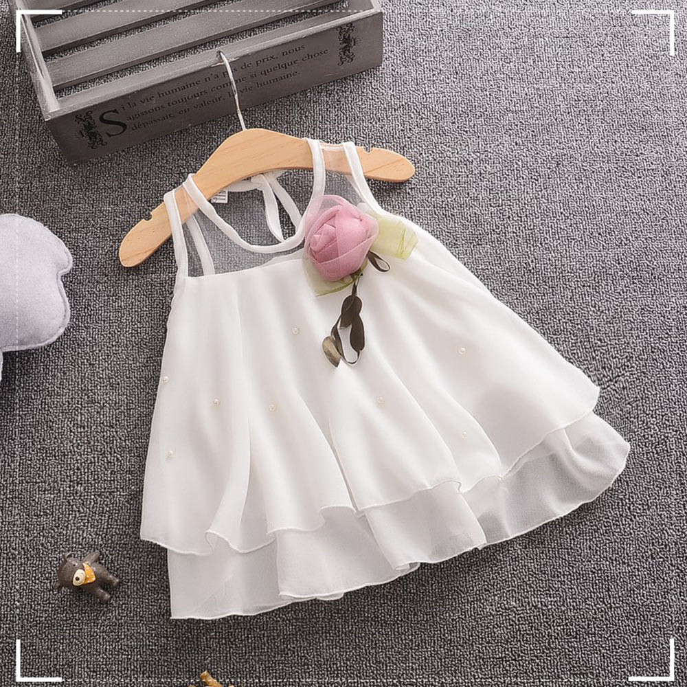 0 3 Year Newborn Princess Baby Girl Dress Party Birthday Dress Lace 3D Flower Baptism Cute Girl Sleeveless Tulle Wedding Dress in Dresses from Mother Kids