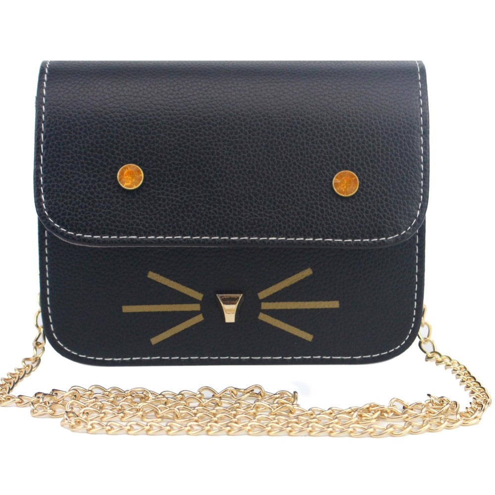Cat Women Bag Face Rhinestone Beard Women Bag in Women's Shoulder Bag For Women Cross Body Bags Lady PU Leather Handbags Animal dali sub k 14 f white