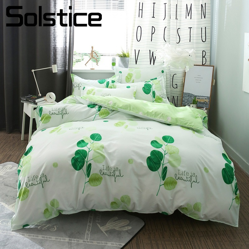 Solstice Home Textile Queen Single Bedding Sets Girl Teen Adult Woman Linen Green Leaf Vitality Bed Sheet Duvet Cover Pillowcase