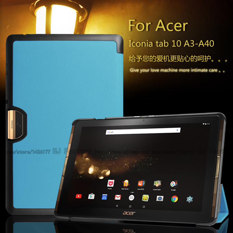 купить For Acer Iconia Tab 10 A3-A40 One 10 B3-A30 10.1 inch Tablet Ultra Slim Magnetic 3 Fold Stand PU Leather Cover Protective Case недорого