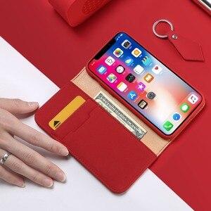 Image 2 - 100% Hakiki Lüks Flip PU Deri Silikon iPhone için kılıf Xs Kılıf Koruyucu Telefon Çanta Kapak iPhone X Için Cüzdan Kılıf Coque