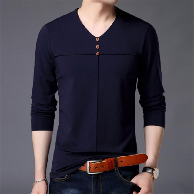 T Shirt Men Clothes 2018 Autumn New Arrival Long Sleeve T-Shirt Men Cotton Tee Shirt Homme Casual Henry Collar Top AE86