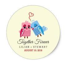 1.5inch Together Forever Love birds Wedding Favor stickers