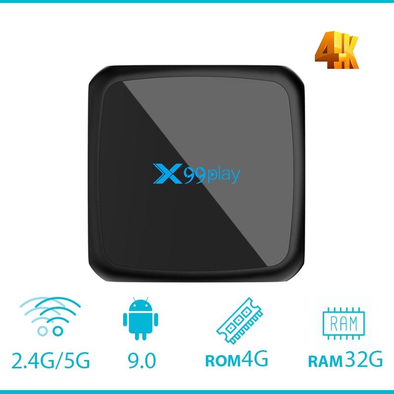 X99play RK3318 Android 9.0 4 GB 64 GB TV BOX HDMI 2.4G 5G double WIFI 100 M LAN 3D USB3.0 Air souris et clavier