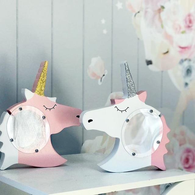 2018 New Wooden Unicorn Piggy Bank Scandinavia Decoration For Kids Room Pink Money Box For Girl Room Decor Scandinavia Decor