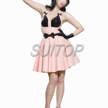 candy pink color latex casual mini dress sweet girl suits for woman princesse sundress lovely SUITOP