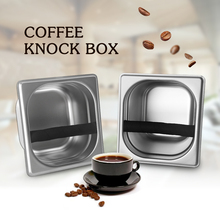 GZZT Coffee Knock Box Stainless Steel Ground Coffee Residue Container Espresso Powder Deep Pan with Rubber Coffee Accessories