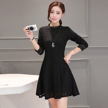 2016 the new Korean autumn dress women's are slim long sleeve lace  openwork back  party Pink lace Girl dress