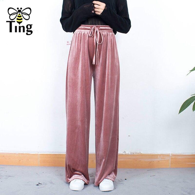 Tingfly Winter Autumn Elastic Waist Velvet   Pants   Fashion Casual   Wide     Leg     Pants   Velvet Trousers Streetwear Bottoms 4 Colors