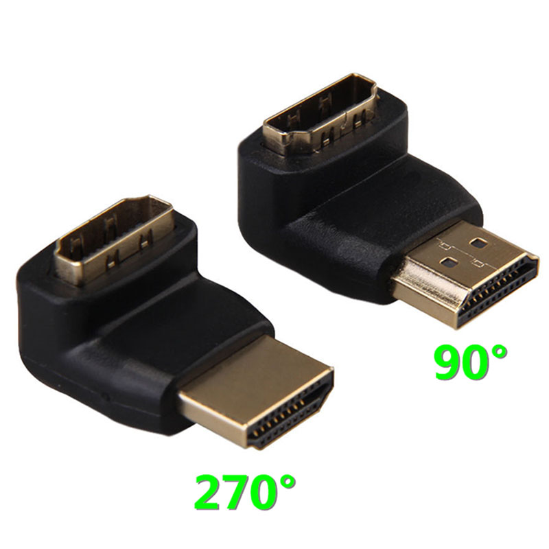 2PCS/lot 90 + 270 Degree Right Angle Gold Plated HDMI Adapter Connector A type Male to Female for 1080p 3D TV HDTV цена