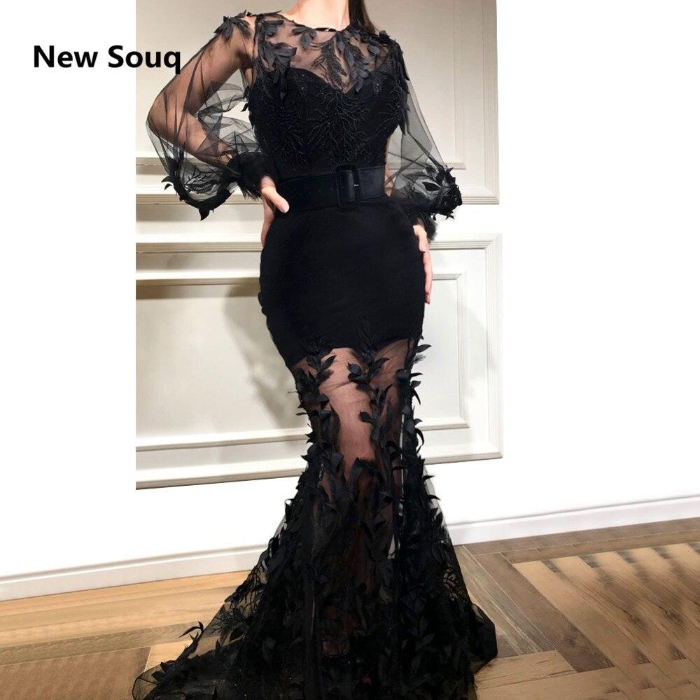 Custom Made Black Mermaid Evening Dresses Sheer O-Neck Long Sleeves Applique Saudi Arabic Prom Dress 2019 Formal Evening Gowns