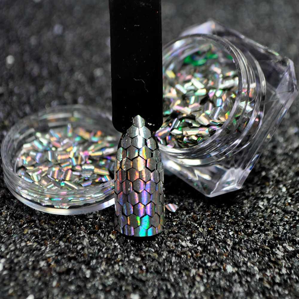 1 коробка рыбья чешуя для ногтей блестки голографические серебристые