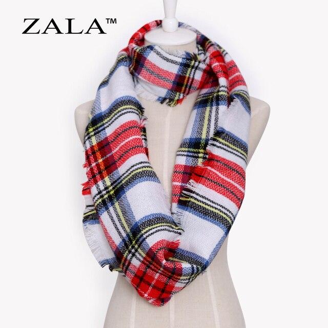 New Fashion for Women 2017 Fall Winter Warmer Acrylic Plaid Fashion Ring Brand Scarf