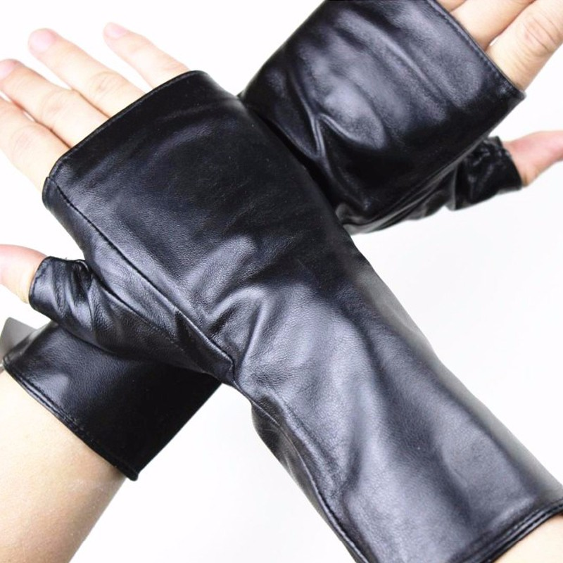 Leather Sheepskin Half Finger Gloves Long Ladies Mitts Velvet Lining Spring And Autumn Driving Gloves 22 Cm Length
