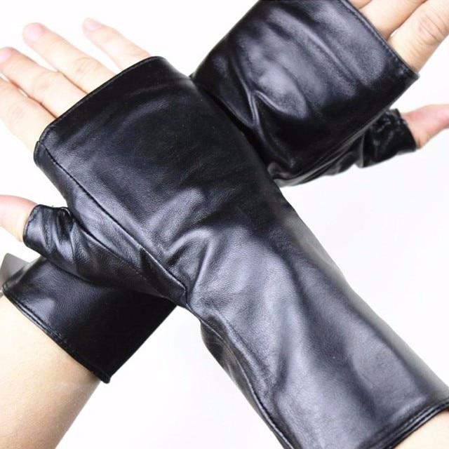 Leather sheepskin half finger gloves long ladies mitts velvet lining spring and autumn driving gloves 22 cm length
