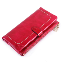 Korean style genuine leather wallet Top grade zipper hasp Small fresh solid color Retro long wallet mini Fashion Card Holder