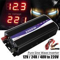 Black 5Pcs Set LED Display 2000W Pure Sine Wave Power Inverter 12V 24V 48V To 220V