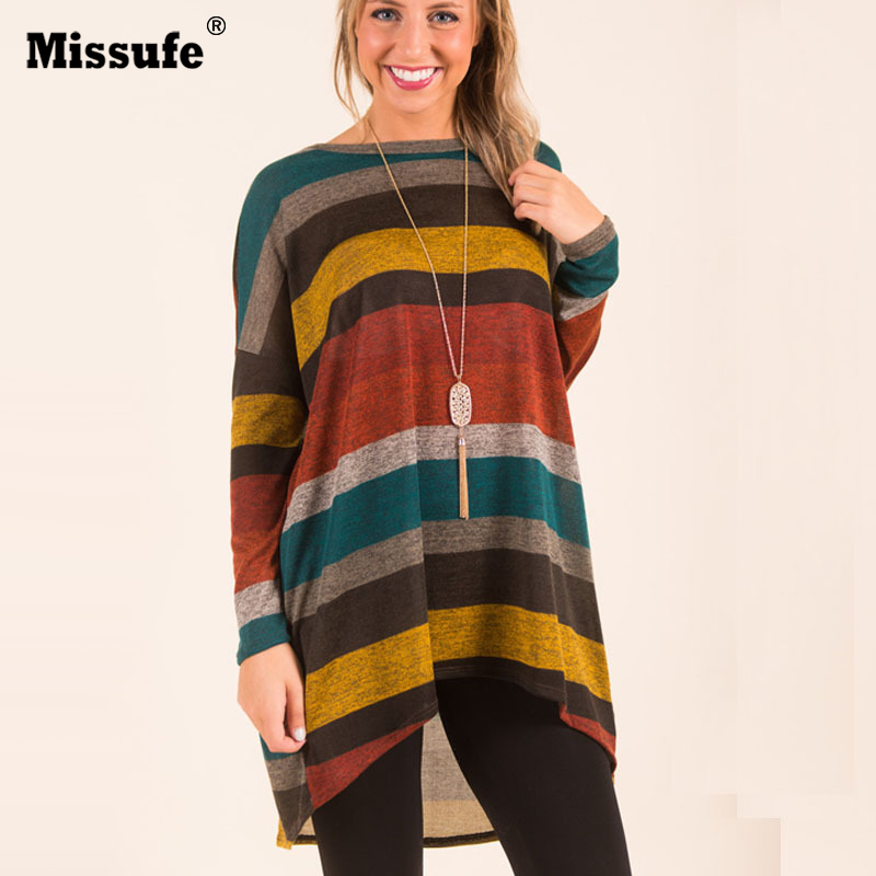 Long Sleeve Splicing Colors Striped Long T Shirt Women 2017 Autumn Winter Casual O Neck With Pocket Brief Daily Loose Tee Tops
