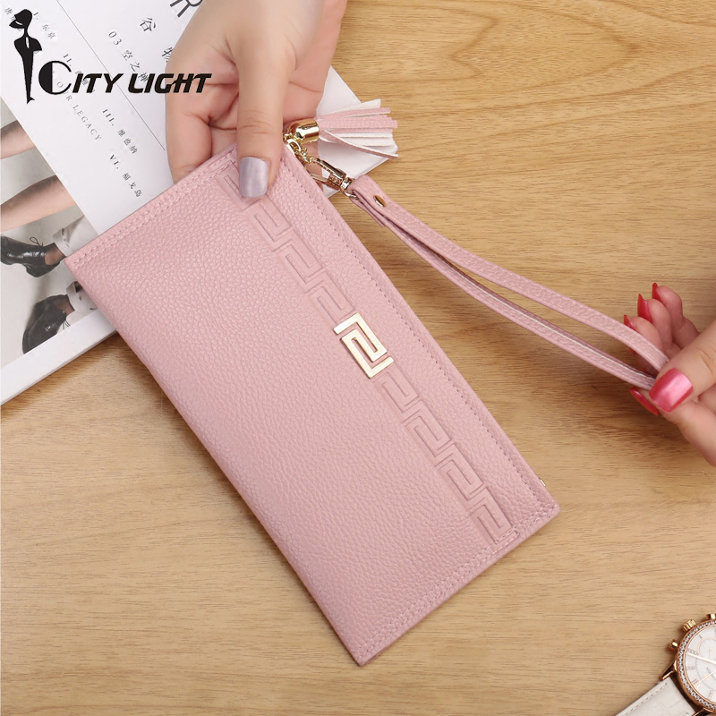High Capacity Fashion Women Wallets Long PU Leather Wallet Female Zipper Clutch Ladies Wristlet Ultra Thin Mobile Phone Bag
