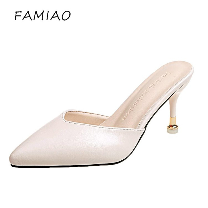 FAMIAO 2018 Genuine Leather womens slippers heels woman Slides sandals Summer Female Footwear pointed toe high heels mules
