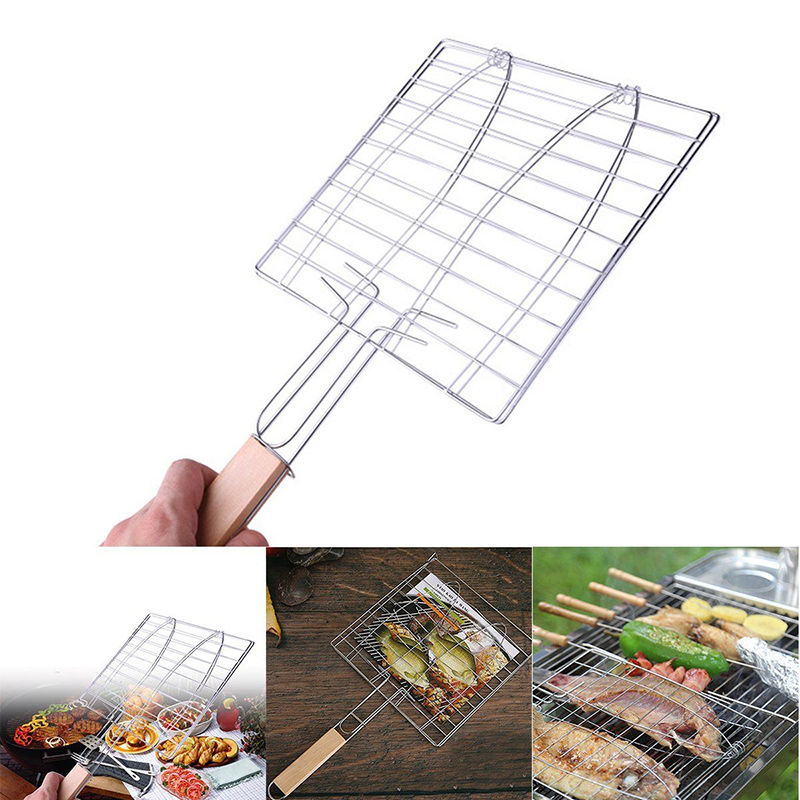 JX-LCLYL BBQ Fish Grill Basket Barbecue Fish Meat Grilling Basket Grill Tongs
