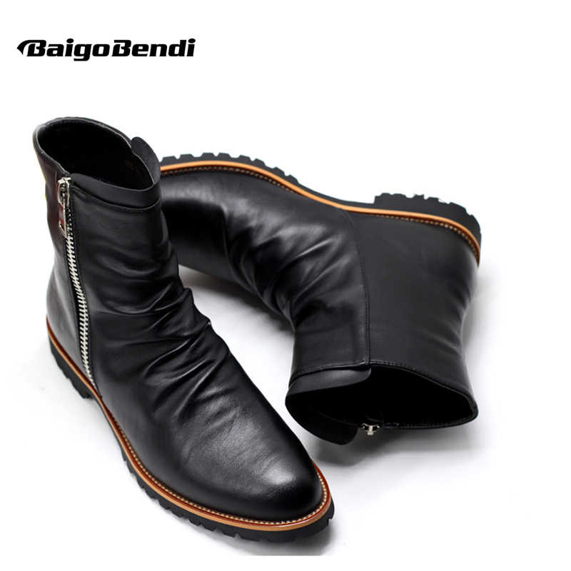 Clearance Sale Cow Split Leather Zip Pointed Toe Winter
