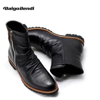Talla de EE. UU. 6-11 cuero negro Zip punta puntiaguda vestido Formal hombres botas militares nieve tobillo zapatos de invierno