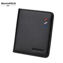 MartinPOLO cartera de cuero genuino para hombre, billetera pequeña ultrafina compacta, tarjetero de piel de vaca, monedero de diseño corto MP1002