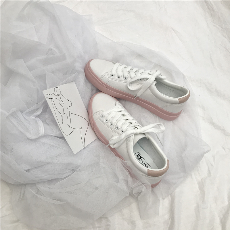 Woman Pink Sneakers Leather Shoes Flat Heel Tenis Femino Women's White Sneaker Trainers Spring All Match Zapatillas Mujer Casual